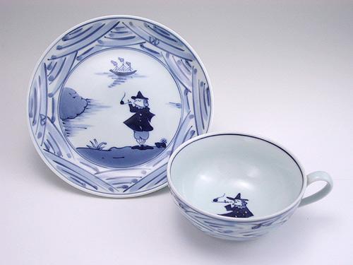 有田焼 青花 長崎紋カフェオレ碗皿